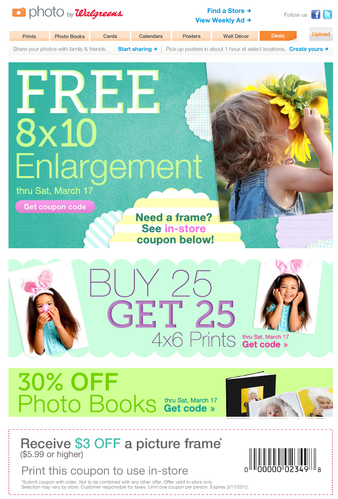 Picture frame coupons
