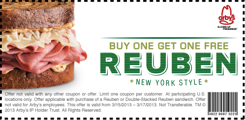 Arbys: BOGO Free Rueben Printable Coupon