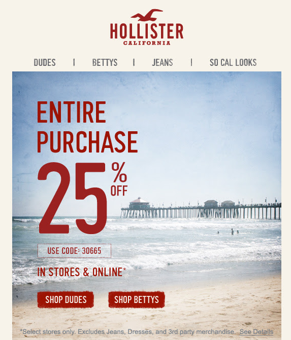 Hollister: 25% off Printable Coupon