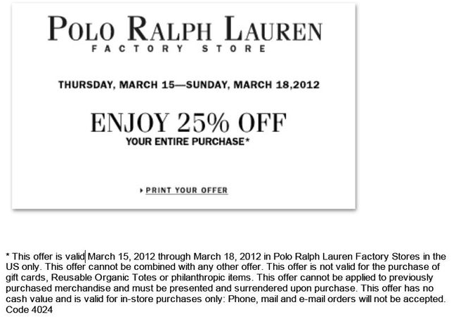 ralph lauren 25 off printable coupon. Black Bedroom Furniture Sets. Home Design Ideas