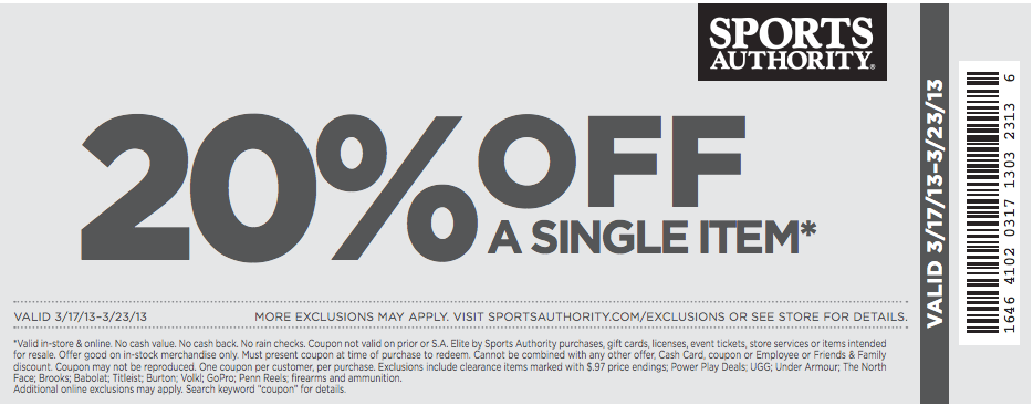 authority 20 % off printable coupon see all sports authority coupons