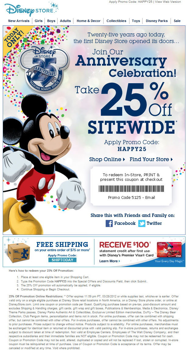 Get the latest Disney Store Coupons for December Click to see more promo codes, hand-picked deals and In store coupons for Disney Store.