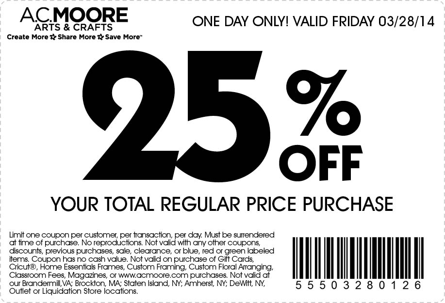 AC Moore Promo Coupon Codes and Printable Coupons
