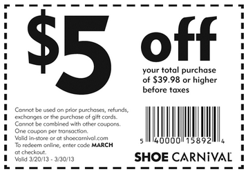 Shoe carnival in store coupons