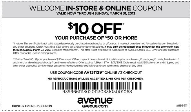 avenue 10 off 50 printable coupon. Black Bedroom Furniture Sets. Home Design Ideas