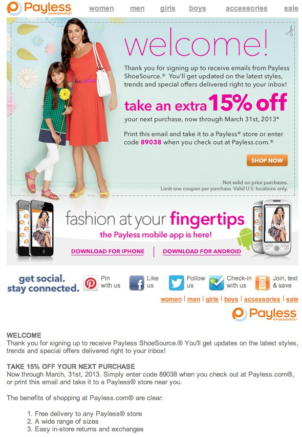 Payless coupons 50 off code