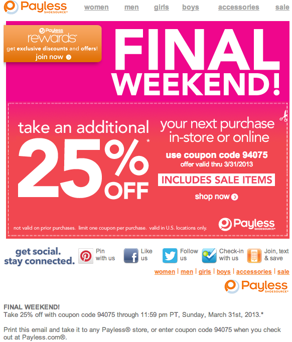 payless code printable coupons