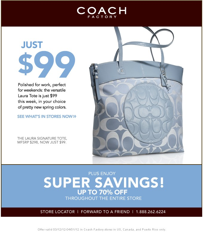 Coach Factory Store: Up To 70% off Printable Coupon