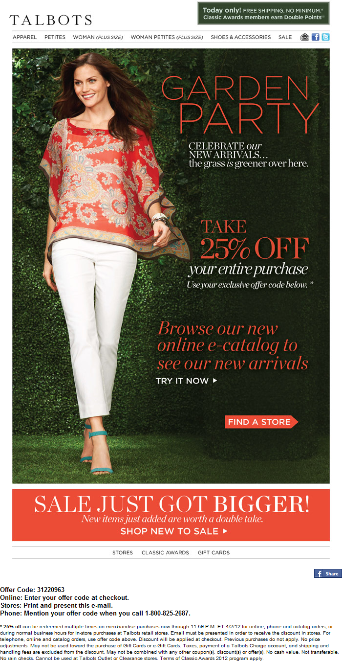 Talbots coupon code free shipping
