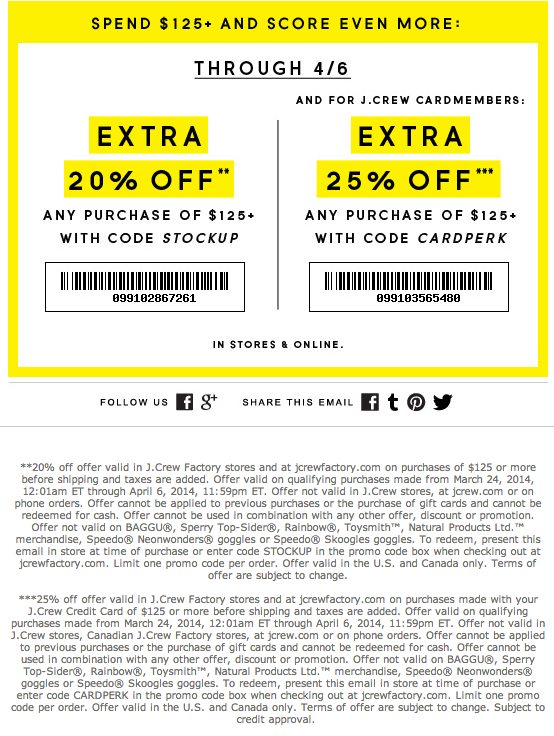 J crew outlet coupons printable