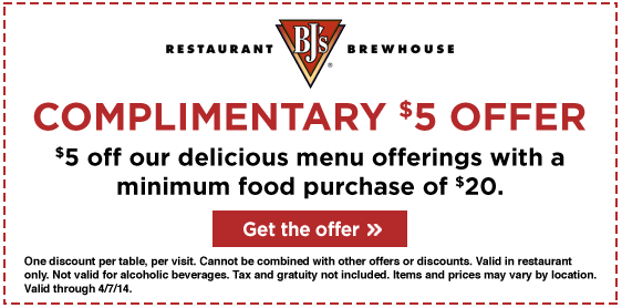 picture about Bjs Printable Coupons called BJs Dining places: $5 off Printable Coupon