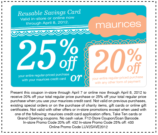 Maurices coupon codes