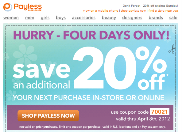 payless shoes 20 off printable coupon