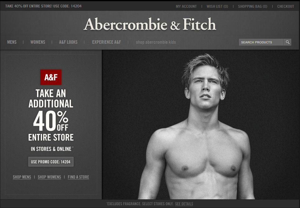 Abercrombie & Fitch: 40% off Printable Coupon