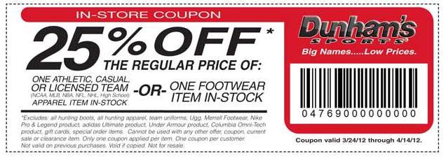 How to use a Dunham's Sports coupon At Dunham's Sports you will find big savings on outdoor sporting goods. The online store features coupon promotions that are marked as Hot Deals.