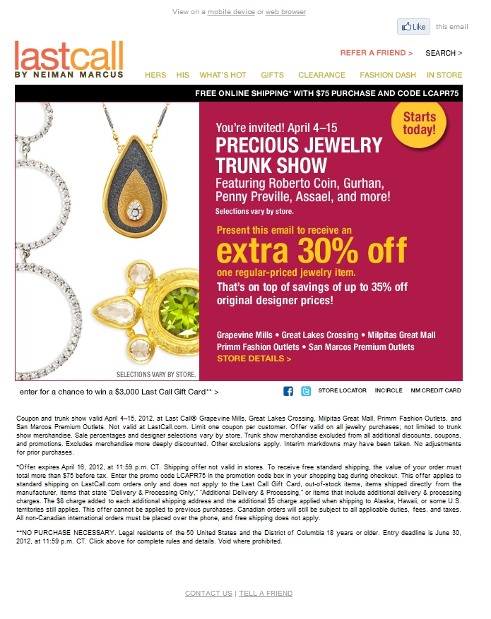 Jewelry fresh discount coupons