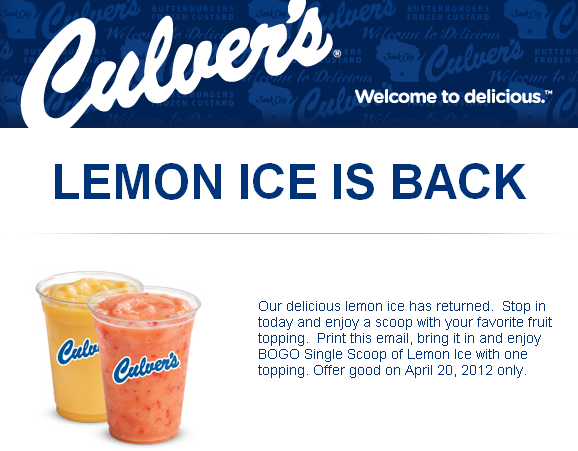 photo about Culver's Printable Coupons identified as Culvers: BOGO Totally free Lemon Ice Printable Coupon