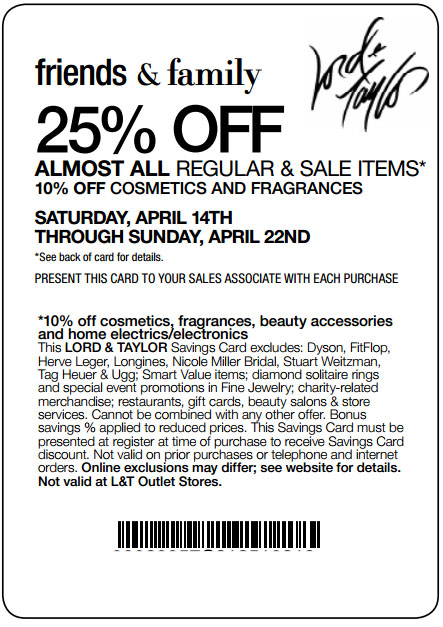 Lord and Taylor: 25% off Printable Coupon