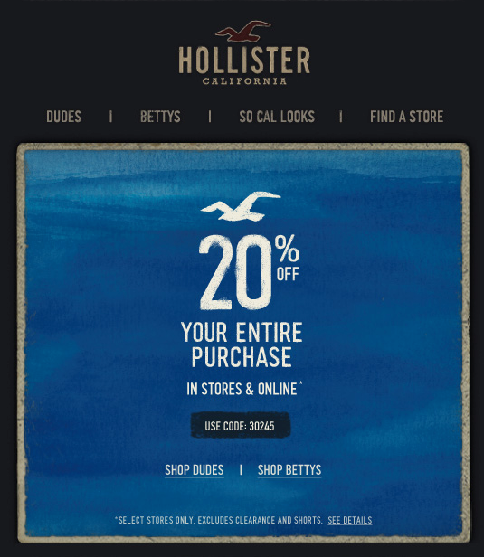 Hollister offers five different shipping speeds and lists the cost of each on the shipping and handling page which can be found by clicking Shipping and Handling at the bottom of the page. Returns can be made in store or through mail/5().