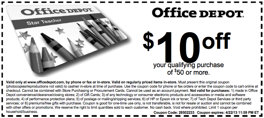 A very good way to save $ when you connect with the right coupon. An Office Depot Teacher Feature. Office Depot participates in the My Star Teacher Program which offers discounts to Office Depot and a number of other businesses with products including food, flowers, car rentals, and dental plans.