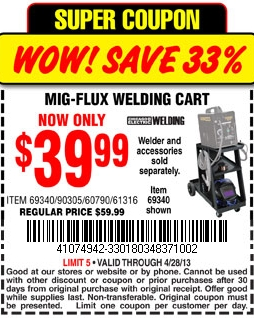 harbor freight tools welding cart printable coupon. Black Bedroom Furniture Sets. Home Design Ideas