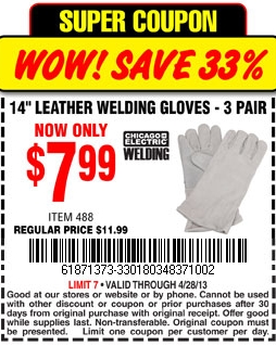 Harbor Freight Tools 7 99 Welding Gloves Printable Coupon