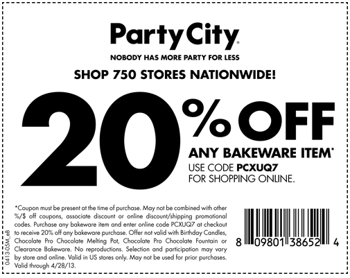 Shop for party supplies, party favors and more: Add the desired Party City merchandise to your cart and visit the shopping basket page next. Redeem your % free promo code: The promo code box can be found at the bottom left-hand side of the page/5(2).