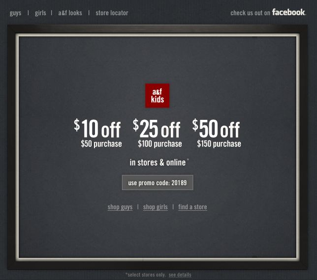 Abercrombie and fitch coupon code