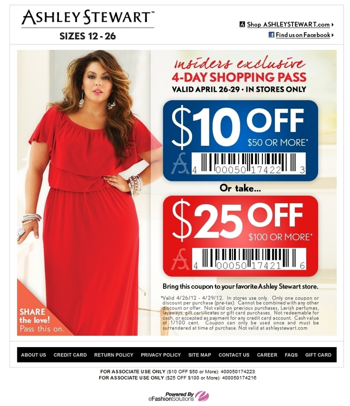 Ashley stewart coupon code