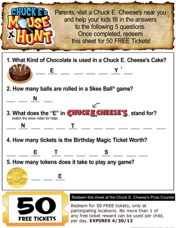 How to use a Chuck E. Cheese's coupon Look for printable coupons on daily deals sites to save the most at Chuck E. Cheese's. Newspaper inserts are also a .