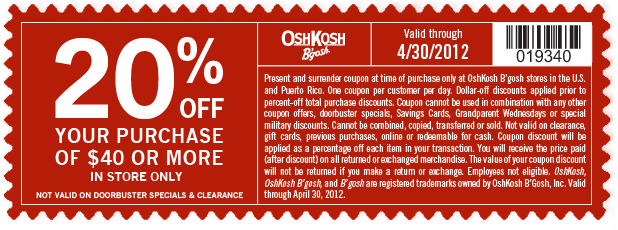 photograph relating to Oshkosh Printable Coupon named Osh kosh b gosh printable discount coupons - Brunos livermore discount coupons