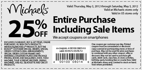 Michaels: 25% off Printable Coupon