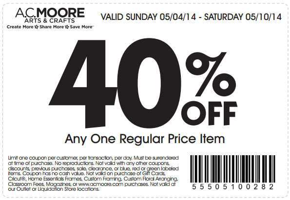 ac moore 40 % off item printable coupon see all ac moore coupons