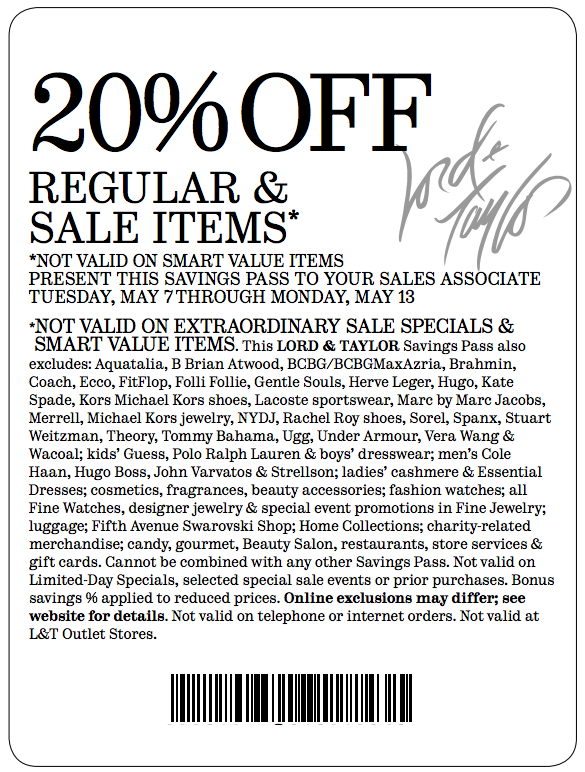 image regarding Lord and Taylor Printable Coupon referred to as Discount coupons lord and taylor 25 off : Cover parking denver