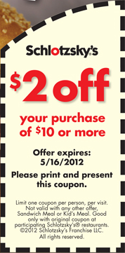 Schlotzsky's coupon code