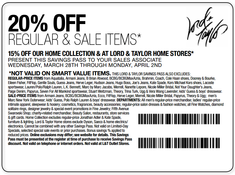 Lord and taylor discount coupons