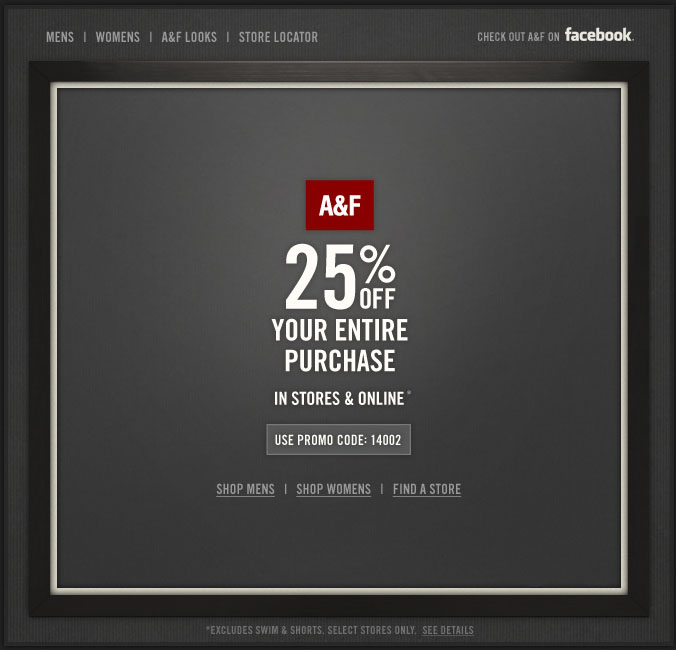 Abercrombie & Fitch: 25% off Printable Coupon