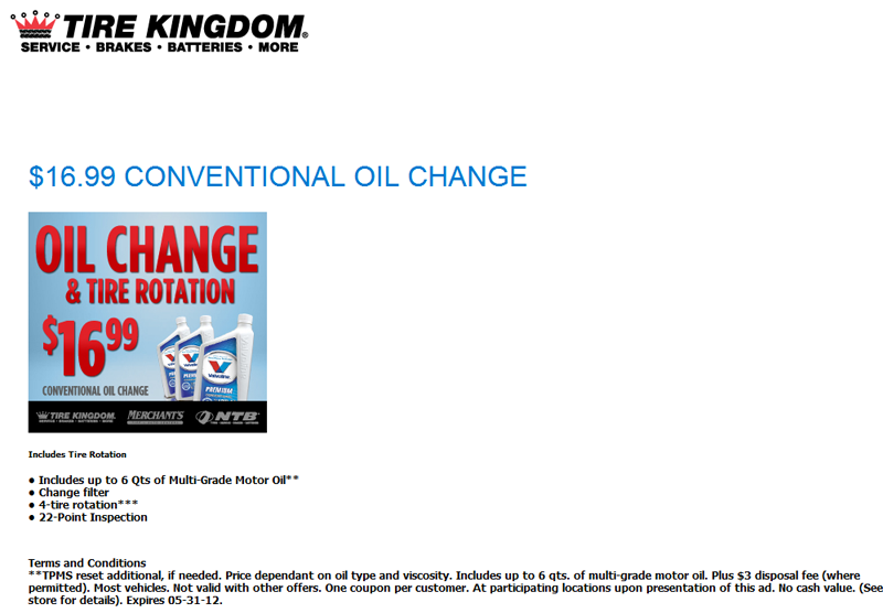 Tire kingdom tires routine auto autos post for Honda oil change printable coupon