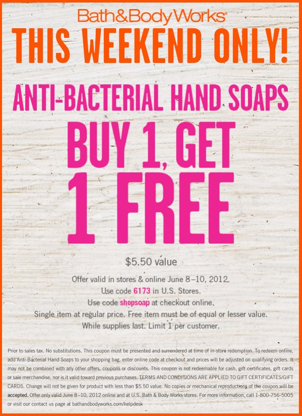 Body soap coupons