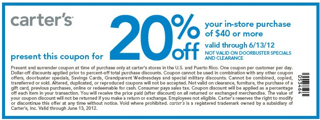 Carter's coupons for 40% off, valid December 5, Find the latest coupon codes, online promotional codes and the best coupons to save you 40%. Our deal hunters continually update our pages with the most recent Carter's promo codes & coupons, so check back often!