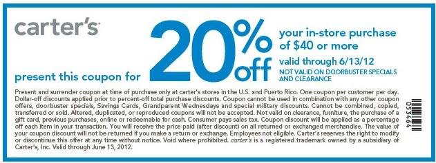 Carters discount coupon code