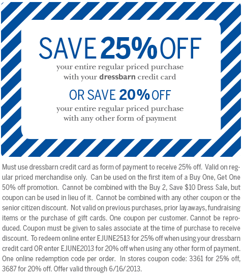 dressbarn 20 % 25 % off printable coupon see all dressbarn coupons