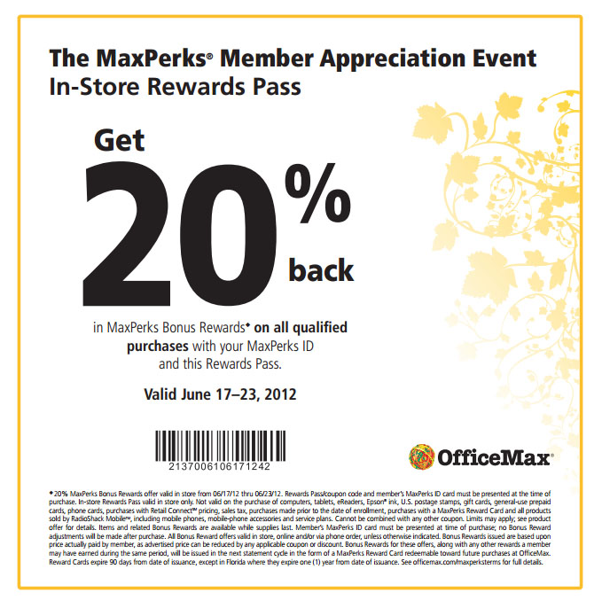 officemax 20 off rewards printable coupon