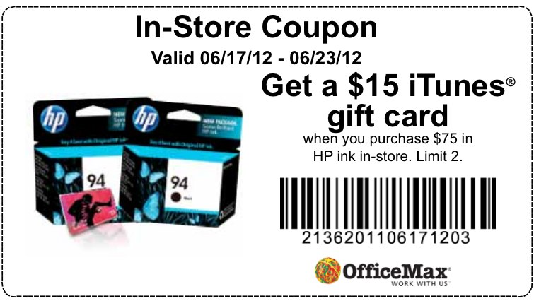 officemax free 15 itunes gift card printable coupon