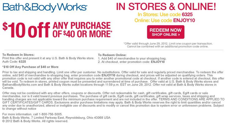 Oct 03,  · $10 Off Purchases Of $30 Or More Printable & Mobile: Print or show offer to cashier.. This Bath and Body Works coupon takes $10 off when you make an in store purchase of $30 or more/5().