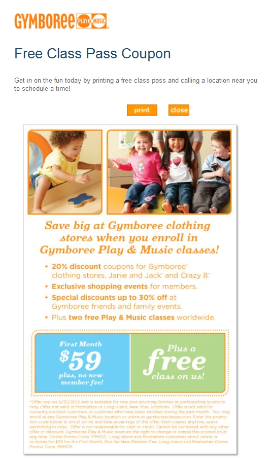 It's just a graphic of Invaluable Gymboree Coupon in Store Printable