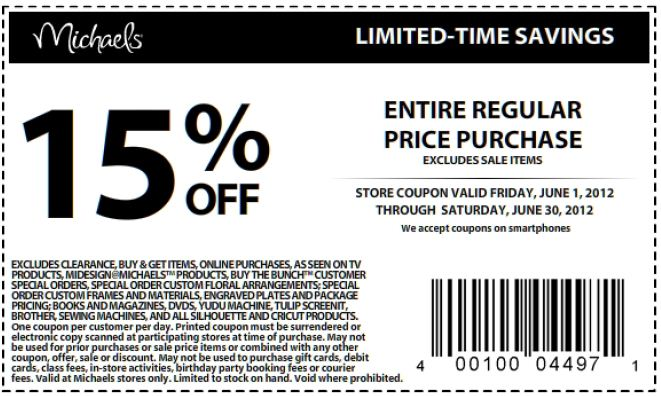 michaels 15 % off printable coupon see all michaels coupons