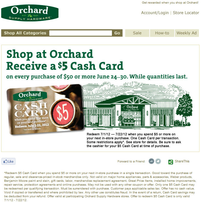 For Orchard Supply Hardware we currently have 15 coupons and 1 deals. Our users can save with our coupons on average about $ Todays best offer is Today Only! 20% Off A Single Item. If you can't find a coupon or a deal for you product then sign up for alerts and you will get updates on every new coupon added for Orchard Supply Hardware.