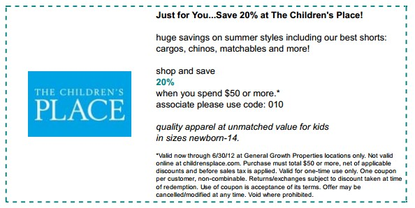 Childrens place coupons 30 off code