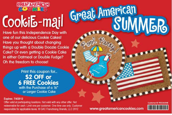 Great American Cookie Company Cake Coupon